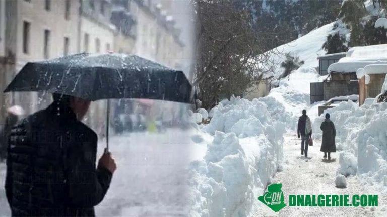 Météo Algérie : des pluies et de la neige sur plusieurs wilayas (BMS)
